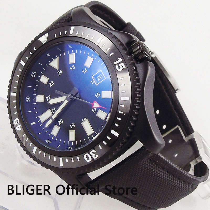 BLIGER Sport Style 44mm PVD Wristwatch Date Function Rotating Bezel Sterile Dial MIYOTA Movement Mechanical Watches     - title=