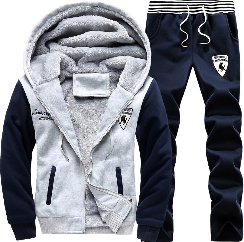 Winter Plus Velvet Hoodie Men's Hooded Sports Set Korean-style Casual Sports Long Sleeve Two-Piece Set Fashion
