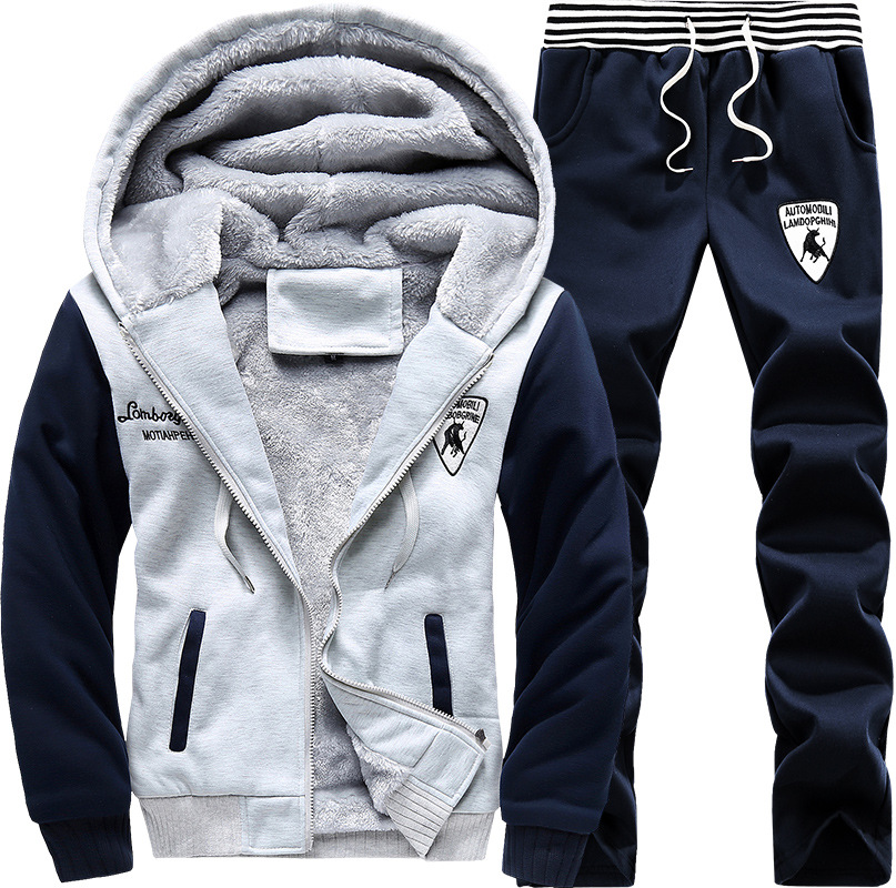 Winter Plus Velvet Hoodie Men's Hooded Sports Set Korean-style Casual Sports Long Sleeve Two-Piece Set Fashion