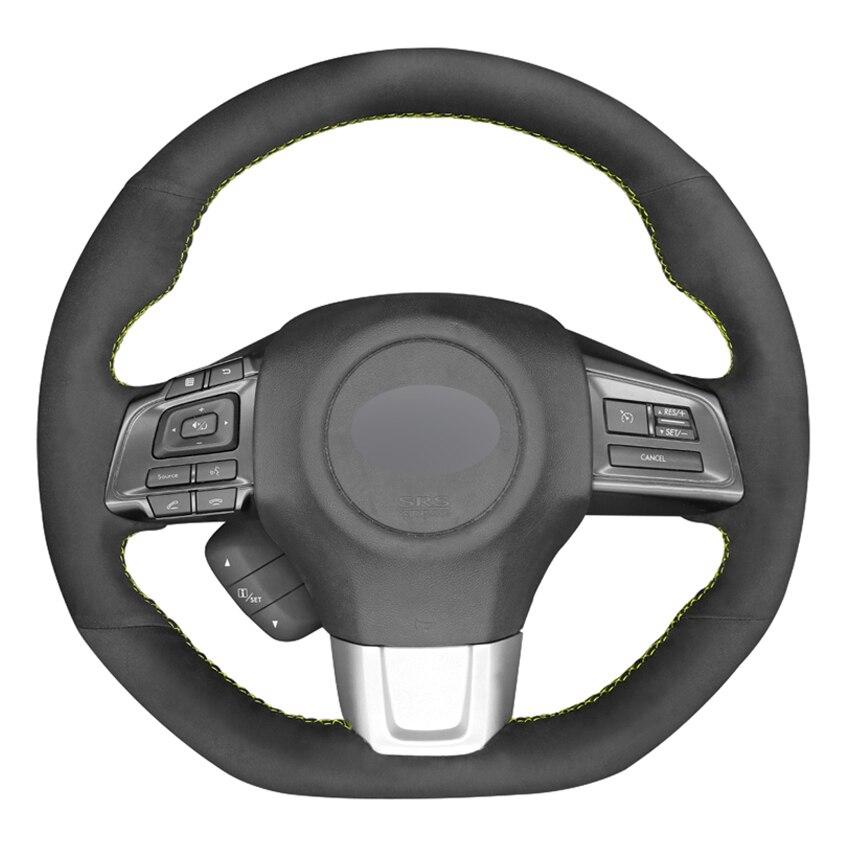 Black Suede DIY Hand-stitched Car Steering Wheel Cover for Subaru WRX (STI) 2015 2016 2017 2018 2019 Levorg 2015-2019