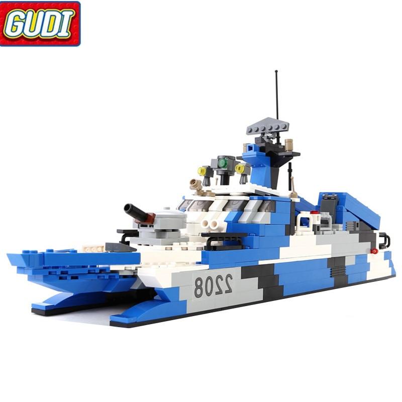 GUDI 578pcs Military Marine Cops Stealth Missile Boat  Building Blocks DIY creative assembly model Toy for children