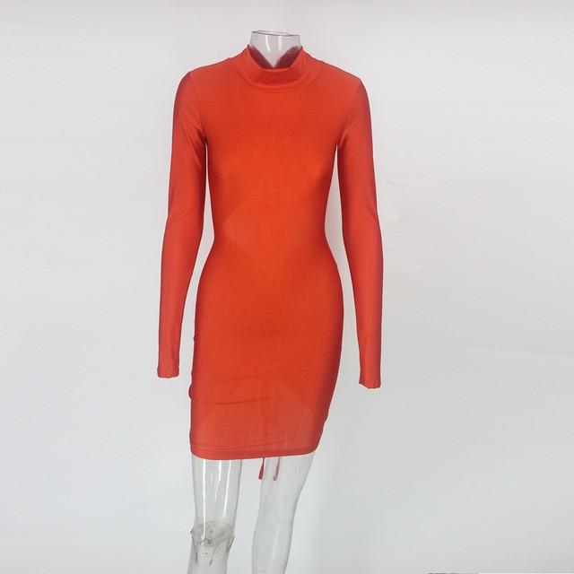 Mini Bodycon Dress kylie jenner Women backless long sleeve Autumn Dress Elegant Sexy Dresses Vestidos 4