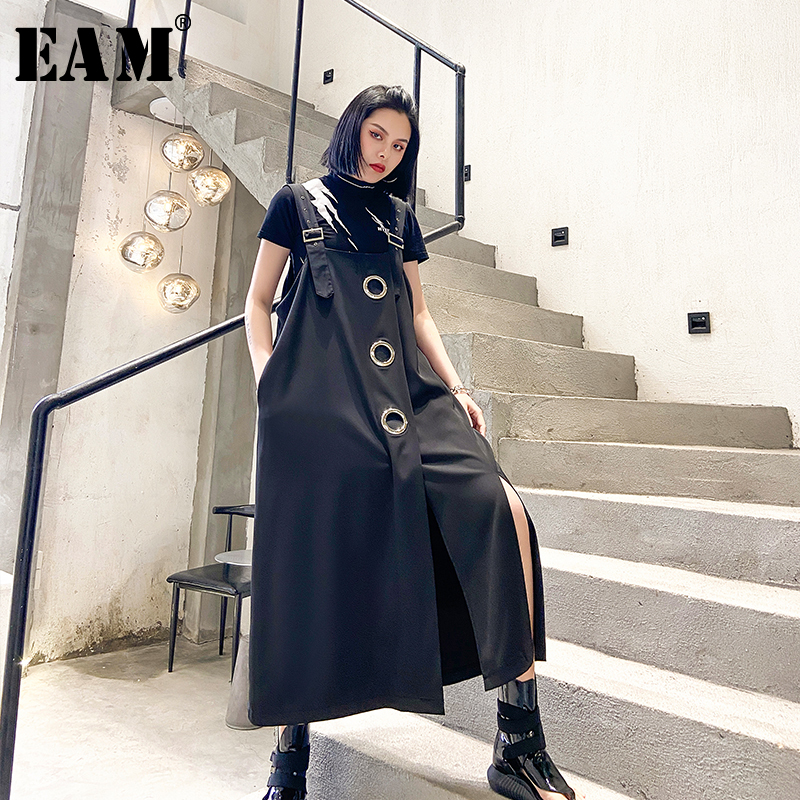 [EAM] Women Black Hollow Out Vent Split Big Size Strapless Dress New Sleeveless Loose Fit Fashion Tide Spring Summer 2020 1T768