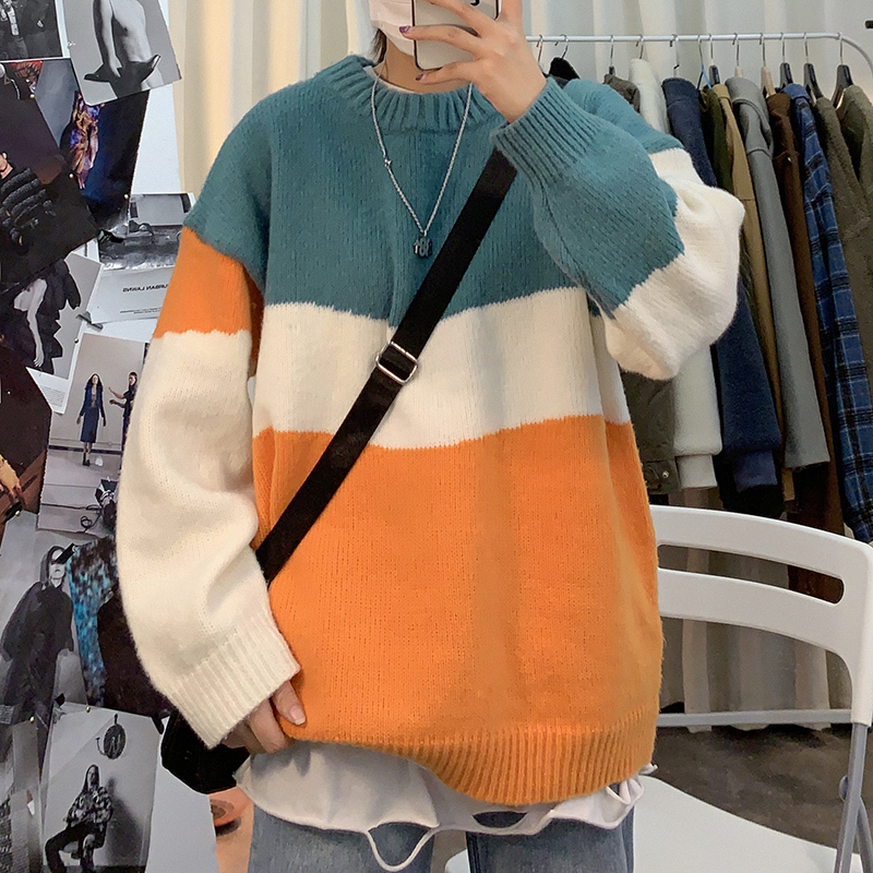 O-neck Sweater Men's Warm Fashion Contrast Color Casual Knit Pullover Men Streetwear Knitting Sweaters Male Sweter Clothes