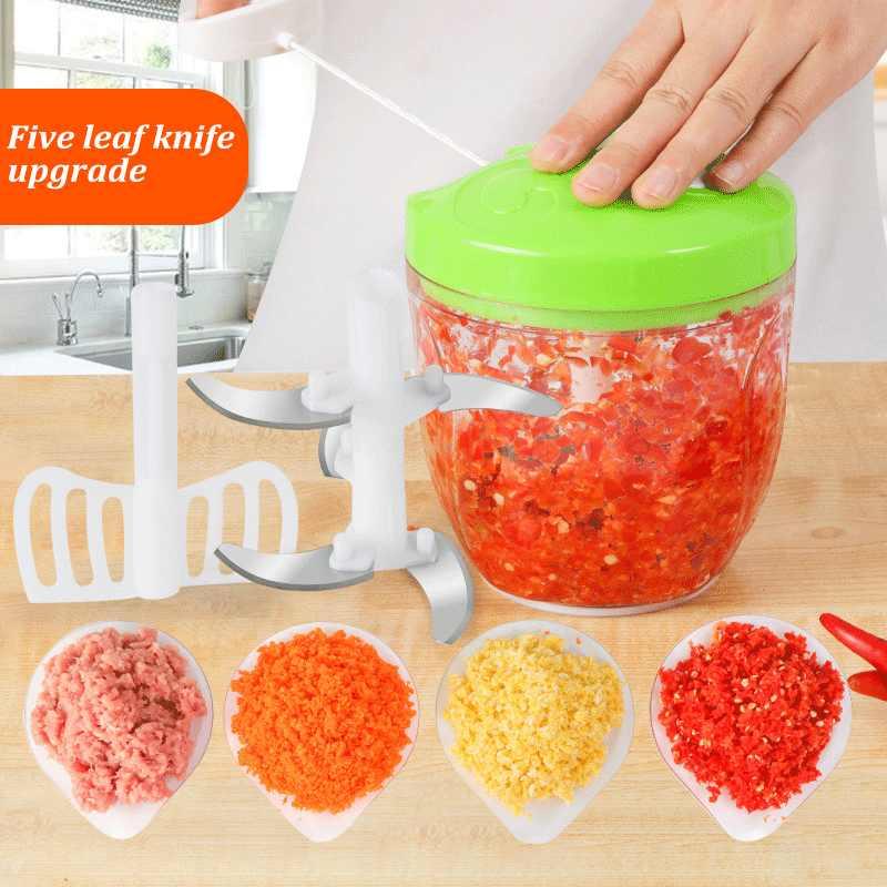 900ML Kapasitas Besar Manual Blender Food Processor Aman Chopper Blender Slicer Dapur Penting Blender Mixer Produk Dapur