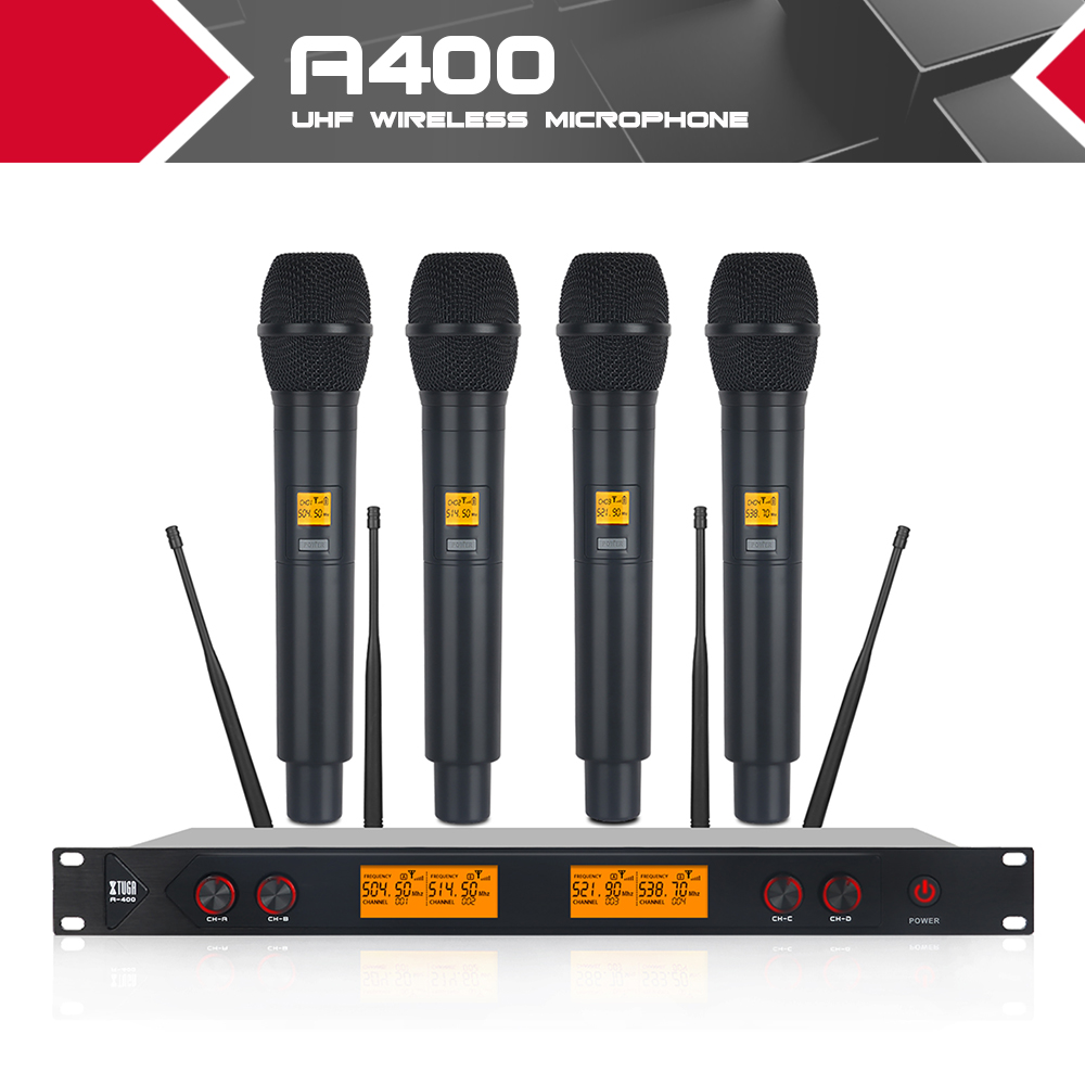 XTUGA A400 Metal Material 4-Channel UHF Wireless Microphone System with 4 Hand-held for Stage Church Use for Family Party