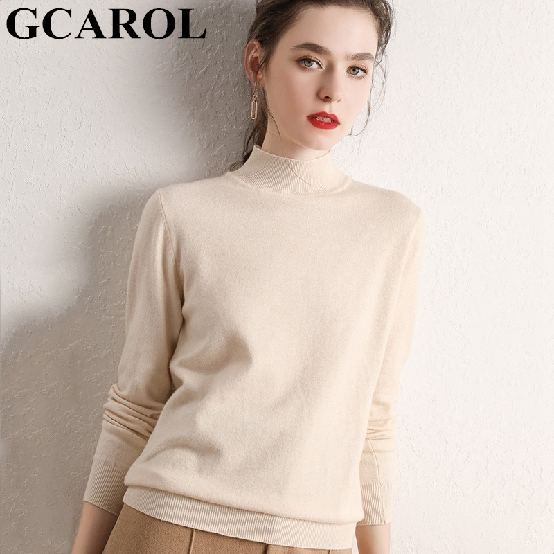 GCAROL Women Half Turtleneck Sweater 30% Wool Thick Warm Jumper Autumn Winter Short Knitted Pullover Stretch Plus Size 2XL