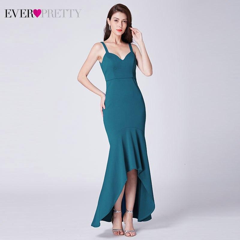 Sarcelle sirène robes de soirée longue jamais jolie Double col en v bretelles Spaghetti élégantes robes de soirée Abendkleider Lang 2019