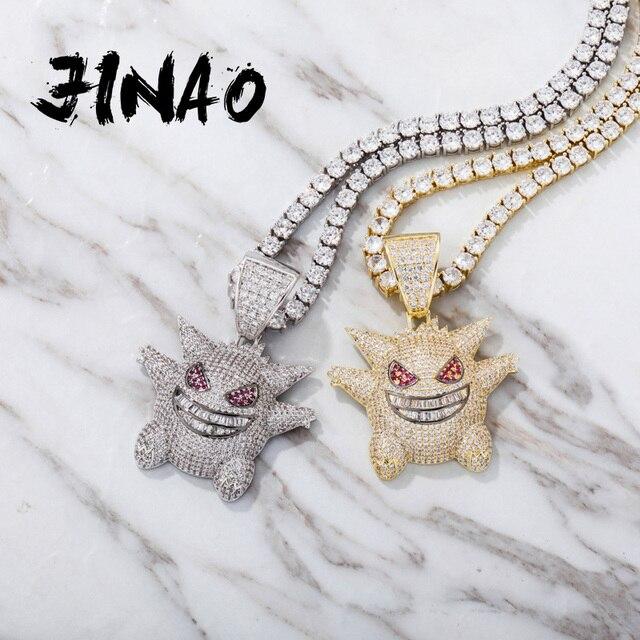 JINAO collier de bijoux Hip Hop, pendentif nouveauté, en cuivre, Zircon cubique, chaîne glacée, cadeau pour hommes