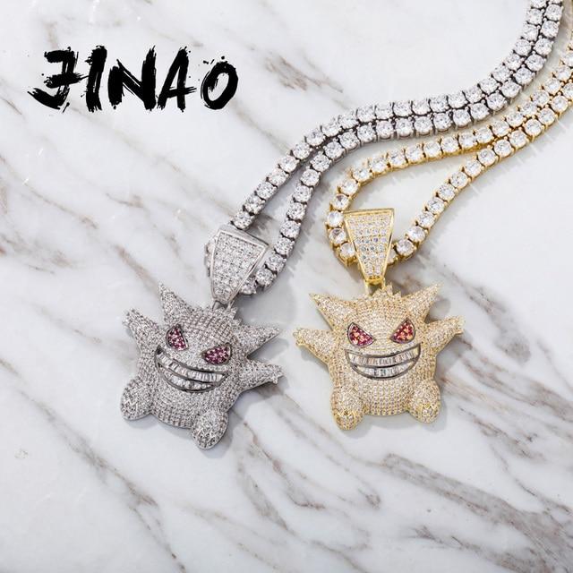 Jinao hip hop jóias máscara gengar colar nova chegada pingente de cobre zircão cúbico colar congelado para fora corrente presente dos homens