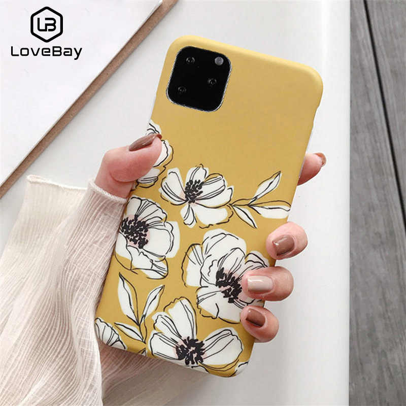 Lovebay Retro Colorful Flowers Phone Case For iphone 11 Pro XR XS Max X 6 6S 7 8 Plus Leaf Matte Soft IMD Art Floral Back Cover