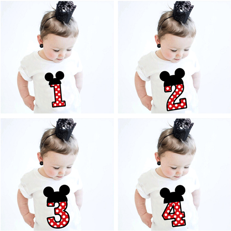 Summer T-shirt For Boys Girls Tees Short Sleeve Number Printing Boys Birthday Tops Mini Mouse 1 2 3 4 Years Old Girls Clothing