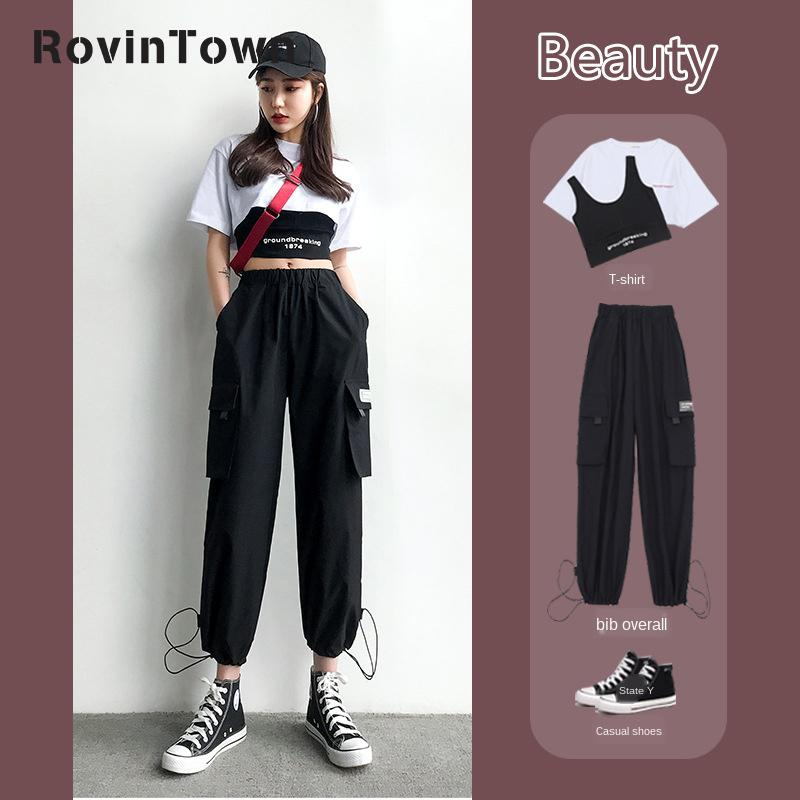 2020 Summer 3 Piece Set Women White T Shirt Black Vest Black Tooling Trousers High Street Fashion Cool Clothes Free Shipping