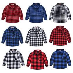 2020 весенне-осенний свитер для мальчиков, с длинным рукавом Классическая клетчатая рубашка Топ с карманом для маленьких мальчиков Повседнев...