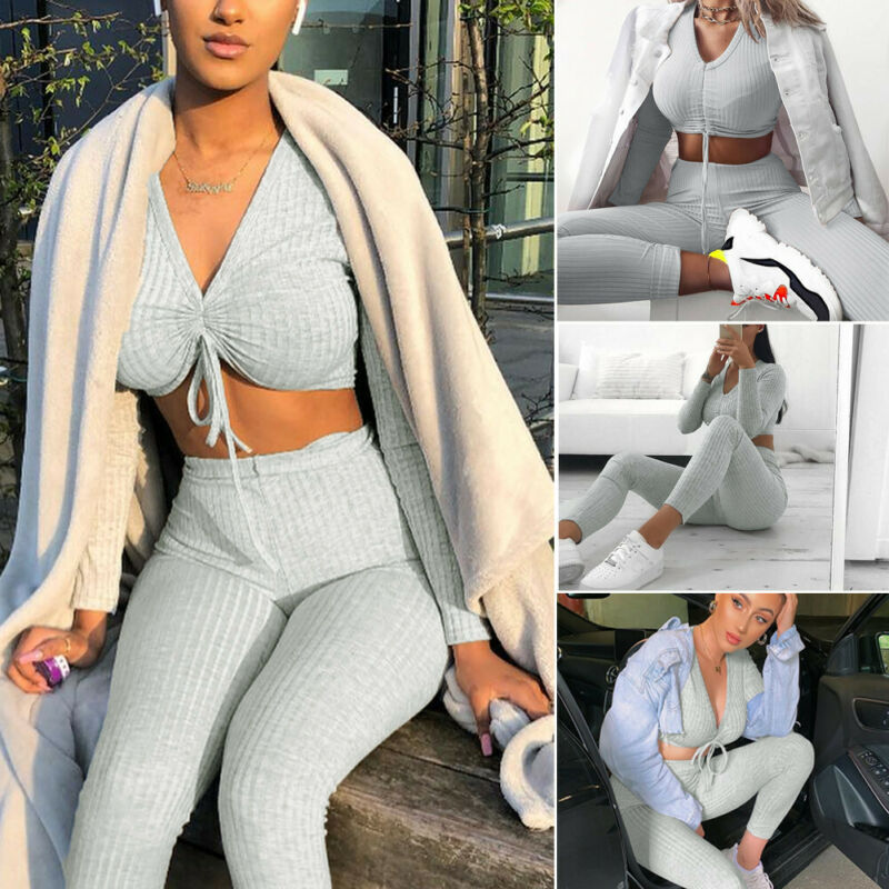 Fashion Ladies Knitting Crop Top Bottoms Set Womens 2pcs Loungewear Party Suit Tracksuit Women Long Sleeve Pants Outfits