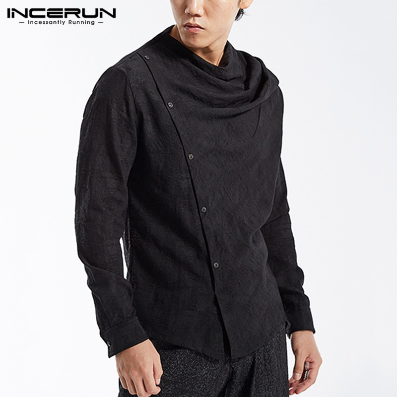 INCERUN Fashion Men Solid Color Shirt Button Up Long Sleeve 2020 Cotton Casual Chemise High Street Tops New Style Shirts Men 3XL