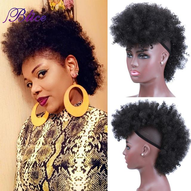 Blice Synthetic High Puff Frohawks Short Kinky Curly Style Mohawk Hair Extension Clip In HairPiece For African American Women