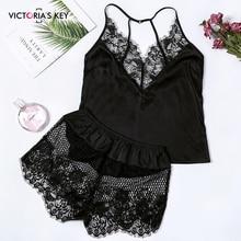 цена на VICTORIA'S KEY Sexy Black V Neck Sleeveless Top Satin Cami And Mesh Lace Shorts PJ Set 2019 Autumn Sleepwear Women Pajama Sets