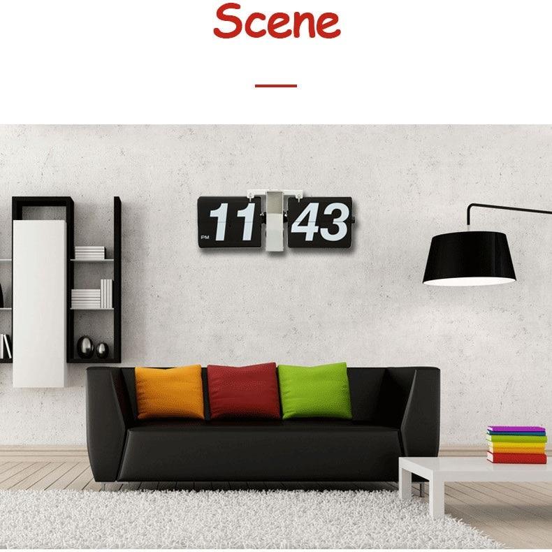 Wonderful European Retro Table Clock Mechanical Automatic Flip Clock Living Room Large DIY Home Wall Clock 6