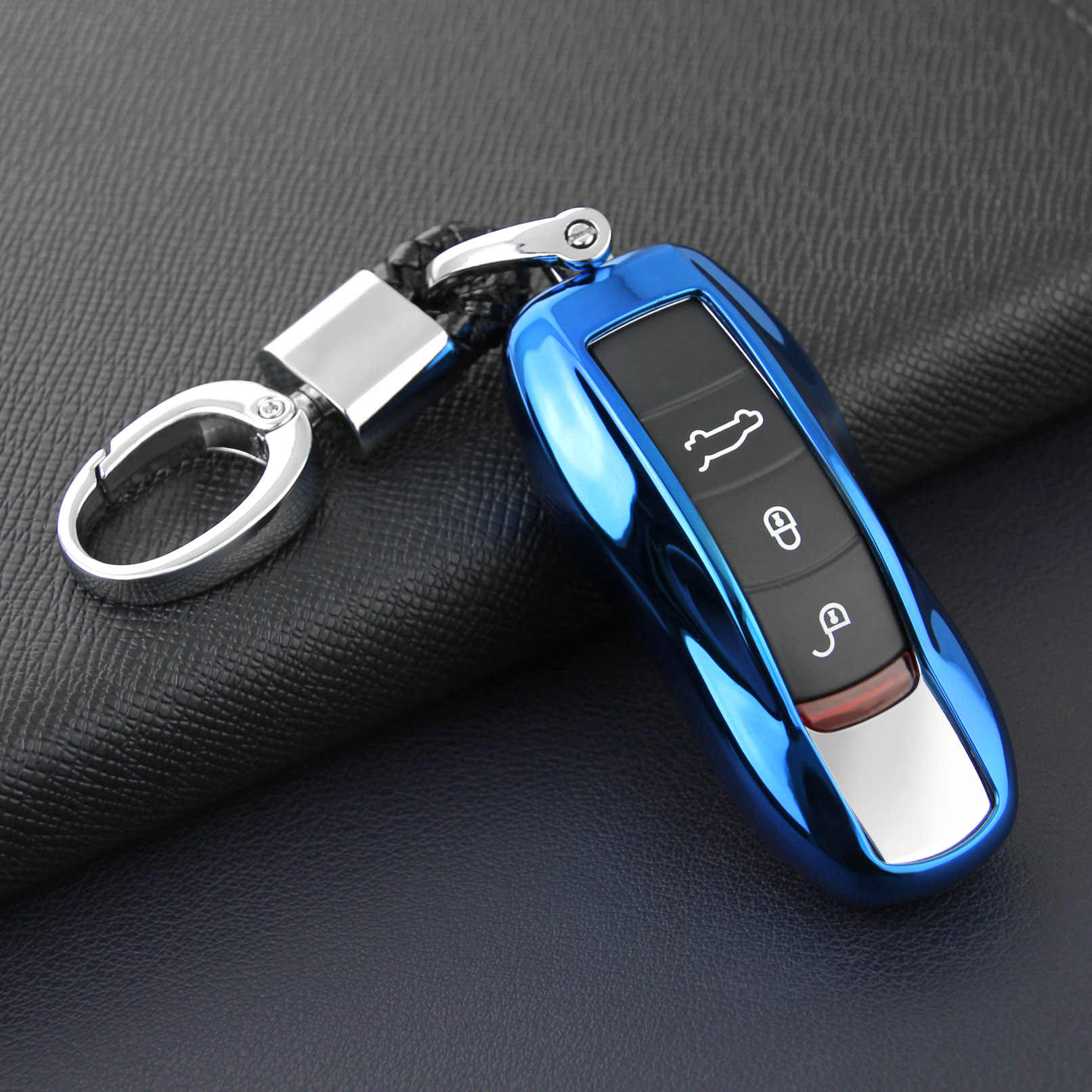 For Porsche Cayenne Panamera Macan 911 718 Boxster Cayman Car Key Fob Chain  Case Cover Holder Ring Keychain Accessories Blue