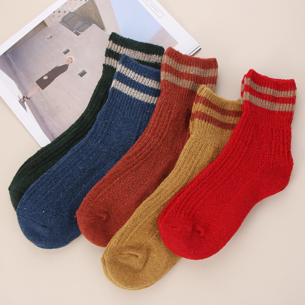 Funny Cute High School Girl Cotton Loose Striped Crew Socks Colorful Women Socks
