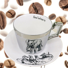 Reflection Mirror Coffee Mugs With Dish Romantic Tea Cups Creative Drinkware
