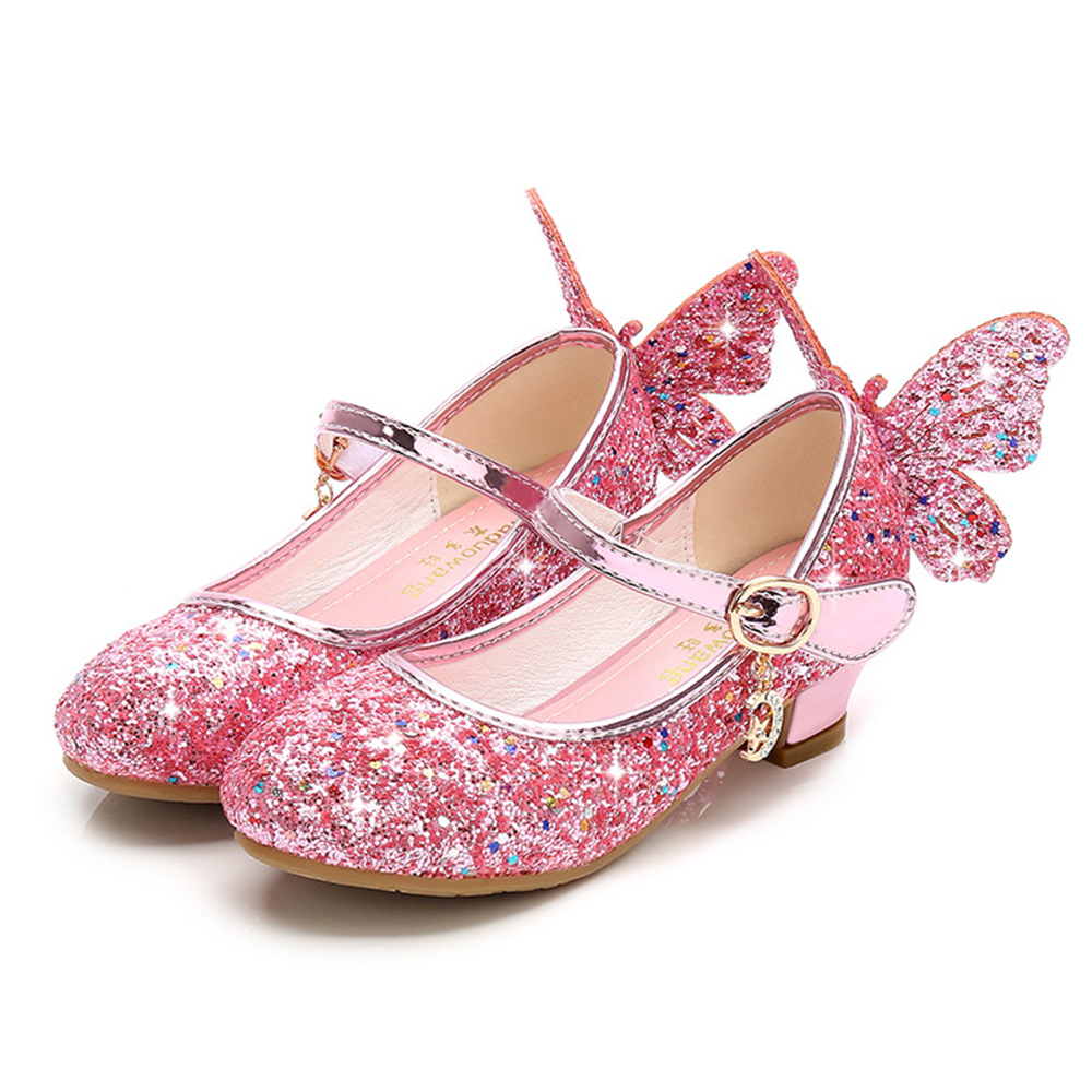 KIDS Fashion Girls Sparkly Dress Shoes,Adorable Kids Party Heels Pumps,Glitter Princess Mary Jane Shoes