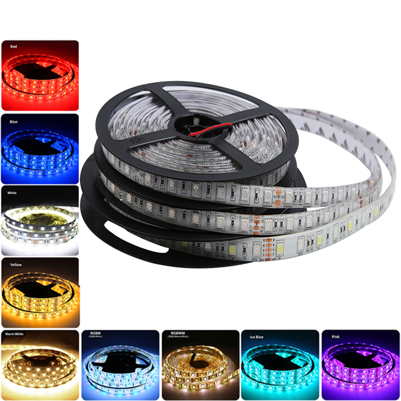 PC RGB LED Strip 5V 12V 24V 5050 Waterproof Warm White 5M Flexible 5 12 24 V Led Strip Light Tape Diode Lamp Ribbon TV Backlight