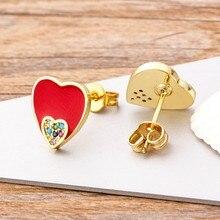 Boucles d'oreilles en cuivre Zircon en forme de cœur, bijoux doux de haute qualité, couleurs rouge/bleu/noir, meilleur cadeau de mariage et de nouvel an