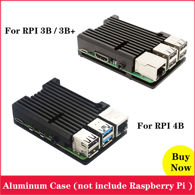 Raspberry Pi Aluminum Case Passive Cooling Allory for Raspberry Pi 4 Metal Box Enclosure for Raspberry Pi 3 Model B 3B B