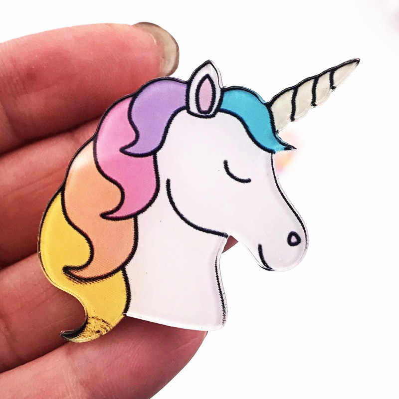 1PCS Colorful Animale Del Fumetto Spille Acrilico Cavallo Unicorno Distintivo My Little Poni Icona Spilla Per Le Ragazze I Premi Decorazione Su borsa Cappello