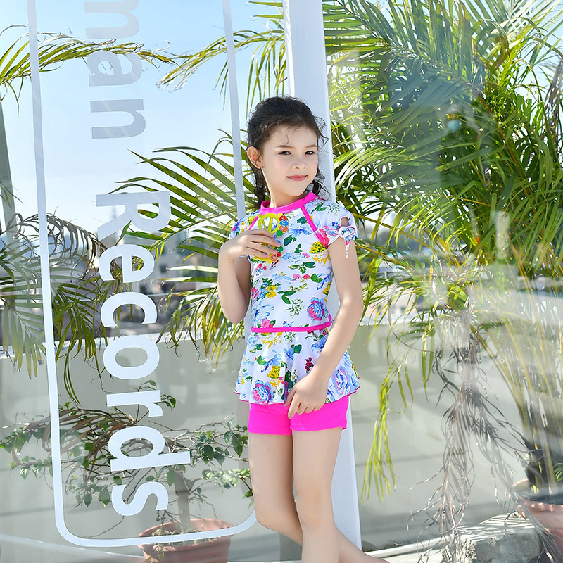 2018 New Style Hot Sales Two-piece Swimsuits Hipster Sporty Floral-Print Boxer Hot Springs Children Girls KID'S Swimwear