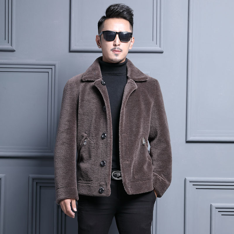 Men's Fur Coat Winter Sheep Shearling Real Wool Coat Short Leather Jacket Men Overcoat Korean Erkek Mont LM-182088 YY273