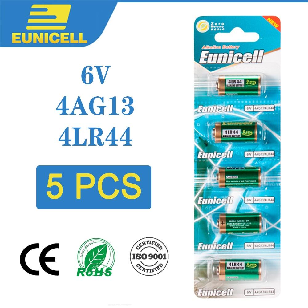 EUNICELL 5PCS 6V 4LR44 A544V 4034PX PX28A L1325 4AG13 544 4A76 Alkaline Dry Battery For Dog Training Shock Collars Beauty Pen
