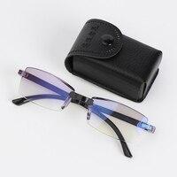 Gafas de lectura plegables sin marco para hombre, lentes de lectura antiluz azul, Protector de gafas para presbicia con caja + 100 ~ + 400