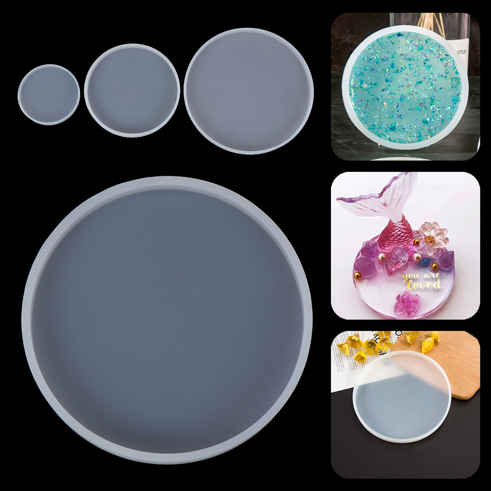 Round Coaster Resin Casting Mold Silicone Jewelry Agate Making Geode Coasters