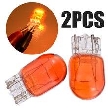 2PCS Amber 12V W21/5W T20 Dual Filament Car DRL Side Light 7443 Effect Brake Bulb For Universal Auto Truck