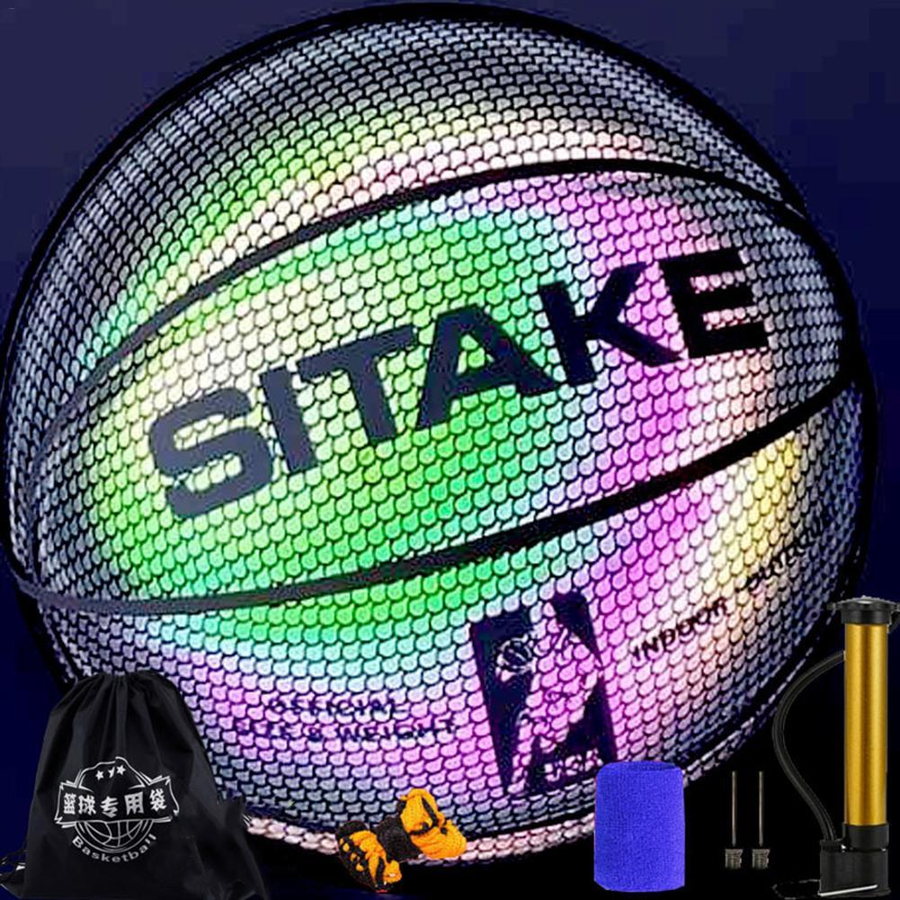 Kasachoy Holographic Basketball Glowing Reflective Basketball Luminous Basketball NO.7 for Kids And Boys Indoor Outdoor
