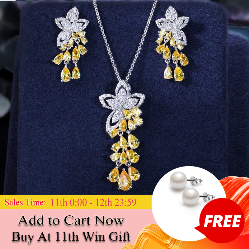 CWWZircons 2020 New Arrival Cubic Zirconia Tassel Drop Flower Earrings and Pendant Necklace Fashion Ladies Jewelry Sets T334