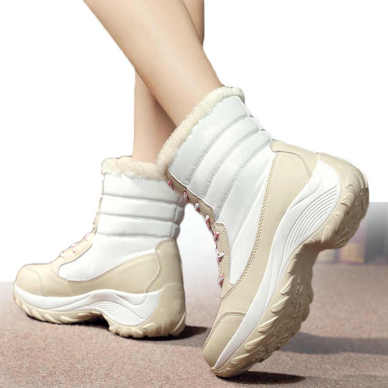 Kadın botları süper sıcak kar botları kış ayakkabı kadın orta buzağı Platform çizmeler topuklu kış Botas Mujer beyaz Botines kadın