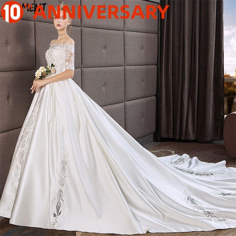 OllyMurs Foreign Trade Wedding Dress 2019 New Light Bride Hepburn Married Sen Satin Woman Bride Large Size Pettiskirt Women