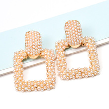 ZA New White Simple Style Square Dangling Drop Earrings Studded With Full Pearl Fine Pendientes Jewelry AccessoriesFor Women