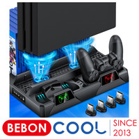 Soporte de refrigeración Vertical para PS4/PS4 Slim/PS4 Pro, cargador doble para mandos, estación de carga, ventilador de refrigeración para Playstation 4, Para ps4 accesorios