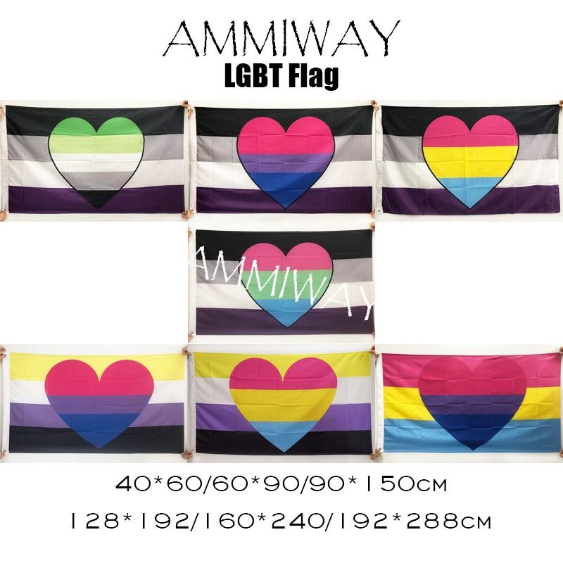 AMMIWAY Asexual Aromantic Би пансексуал полисексуальность небинарный Би Пан комбо ЛГБТ Радуга, фестиваль Прайд флаги и баннеры