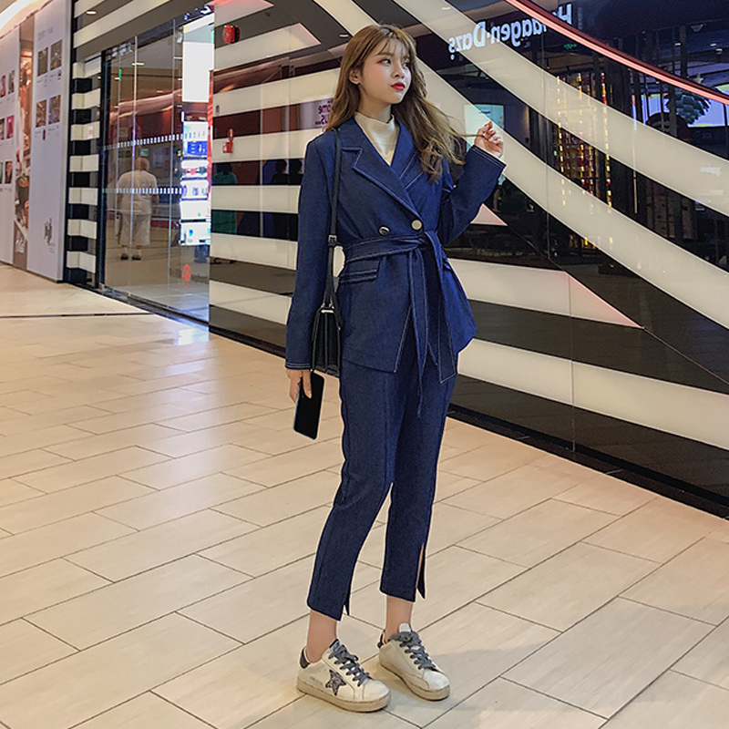 blazer autumn new casual trouser Double Breasted suit set nine pants two sets 2019 New Drop shipping