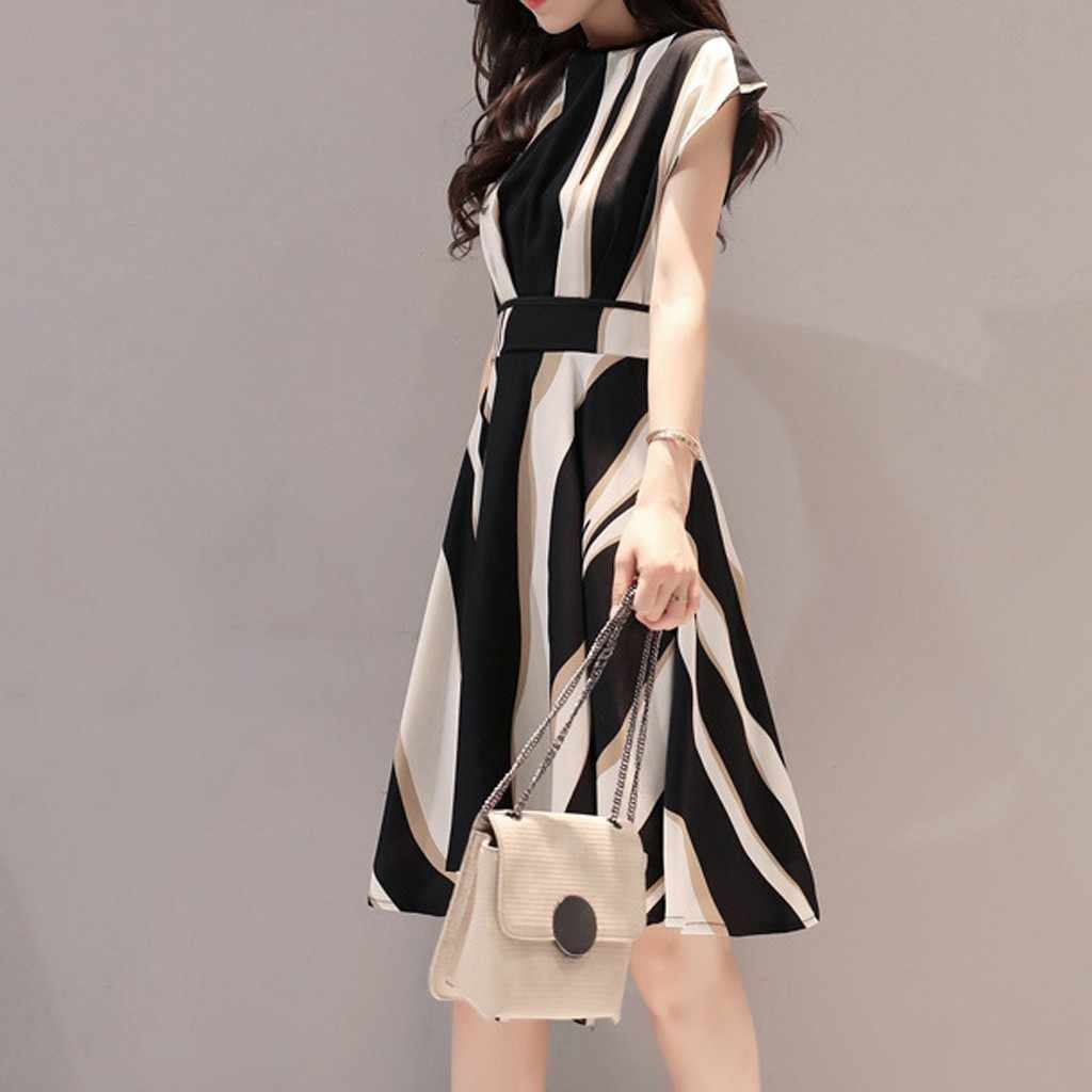 Nữ Thanh Lịch Thời Trang Áo Liền Quần Dây Cổ Tròn Tay Ngắn Chữ A Đầu Gối-Chiều Dài Đầm Nữ Công Sở Hàn Quốc đầm W8