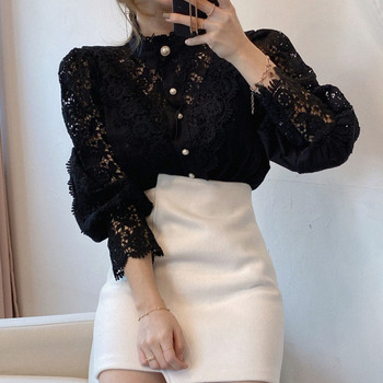 Petal Sleeve Stand Collar Hollow Out Flower Lace Patchwork Shirt Femme Blusas All-match Women Blouse Chic Button White Top 12419 4