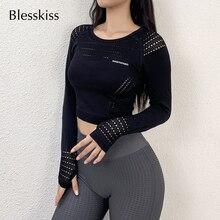 BLESSKISS Cut Out Sport Crop Top Women Fitness Gym Yoga Shirt Long Sleeve Energy Seamless Workout Yoga Tops Tshirt Sportswear cut out crop ribbed tshirt