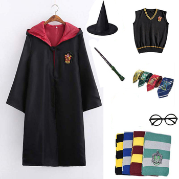 Cosplay Clothes Costume Potter Cosplay Hermione Uniform Cloak Cape Robe Scarf Tie Shirt Wand Accessories Halloween Costumes star wars jedi cloak cosplay costumes adult men hooded robe cloak cape costume halloween christmas dresswith