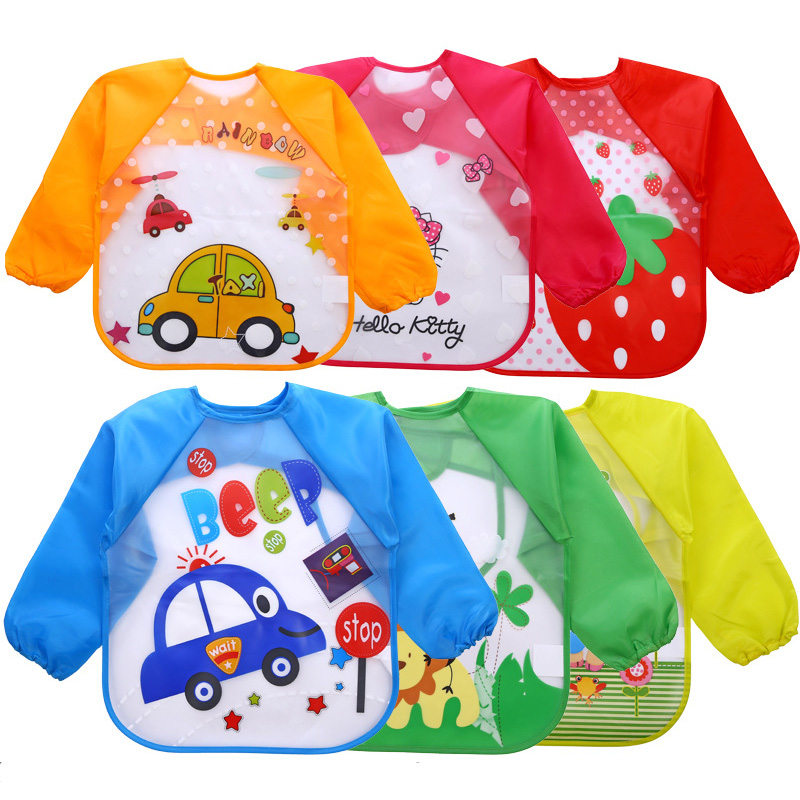 Waterproof Baby Infant  Full Sleeve Bibs Cute Cartoon Animals Children Long Sleeve Apron Coverall Feeding Bibs